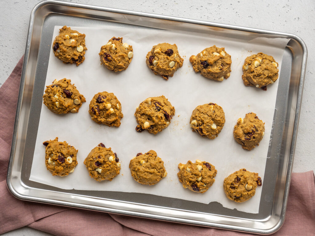 baked oatmeal cookies on baking sheet