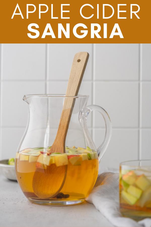 Image for pinning Apple Cider Sangria recipe on Pinterest