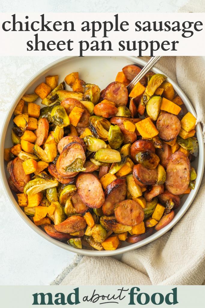 Image for pinning Chicken Apple Sausage Sheet Pan Supper recipe on pinterest