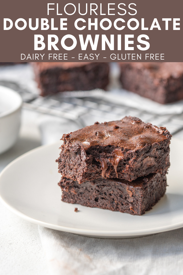 Image for pinning Flourless Double Chocolate Brownies recipe on Pinterest