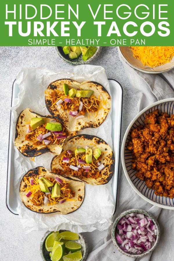Pinterest image for pinning Hidden Veggie Turkey Tacos recipe on Pinterest