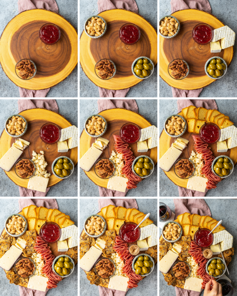 Above view of a step by step assembly of a holiday charcuterie board with trader joe's cheeses