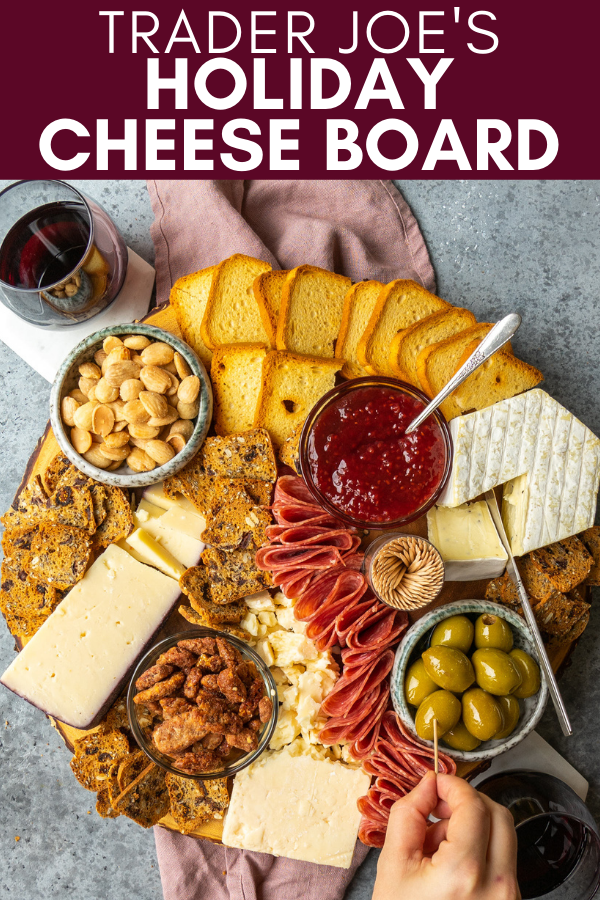 Image for pinning trader joe's holiday cheese board guide on pinterest