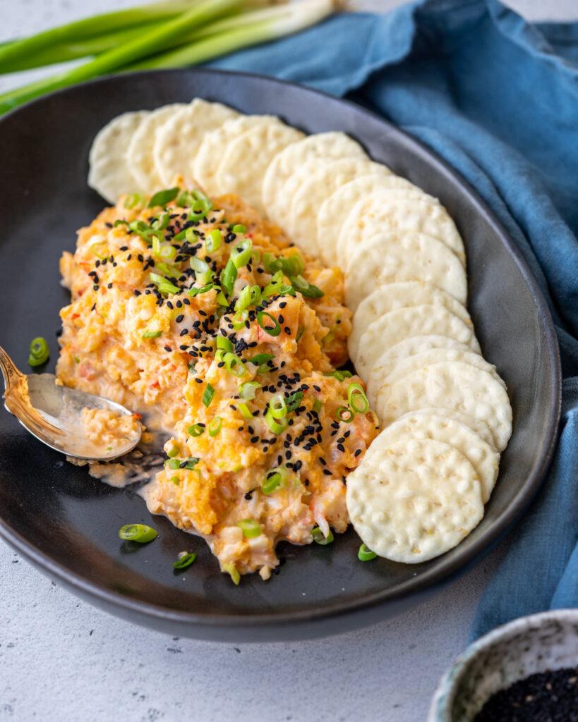 bang bang shrimp dip on a platter