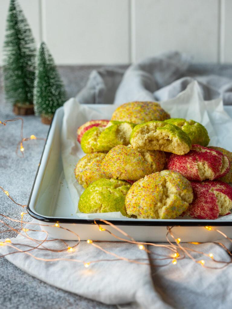 cookies with christmas lights and mini christmas trees