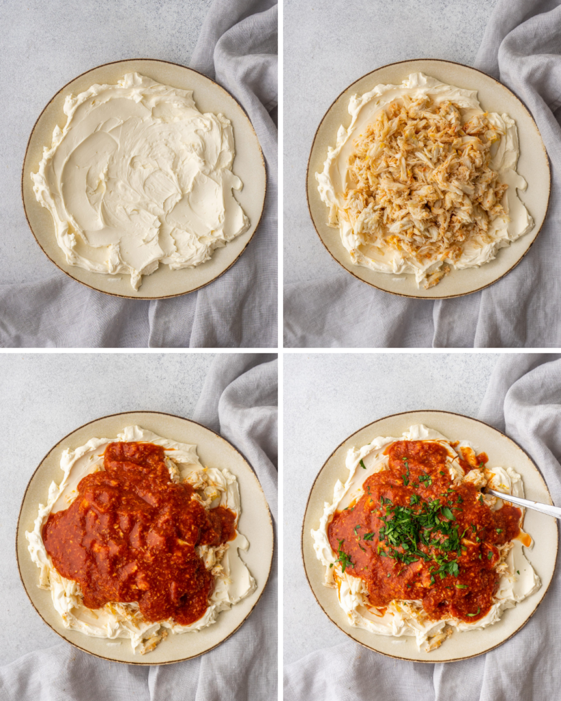 Step by step assembly of Classic Cold Crab dip