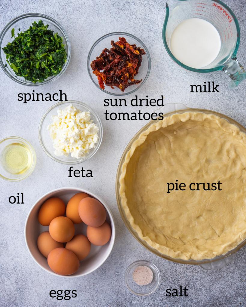 ingredients for vegetarian quiche recipe