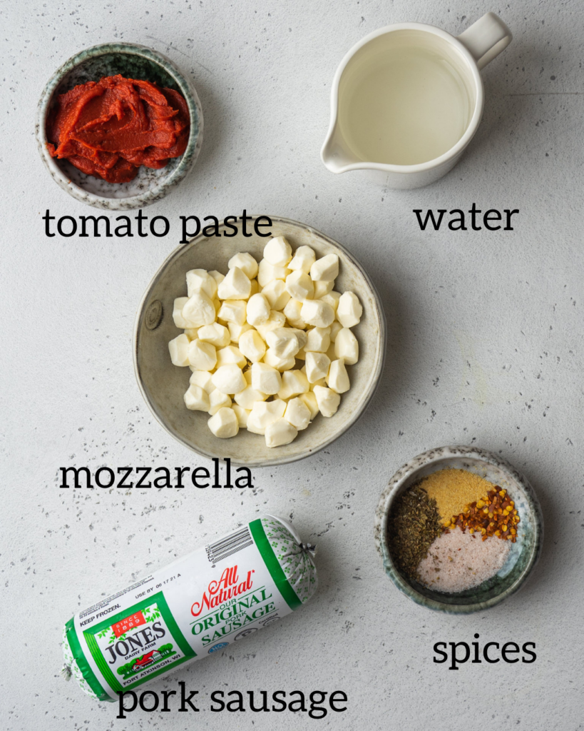 ingredients for the sausage pizza dip