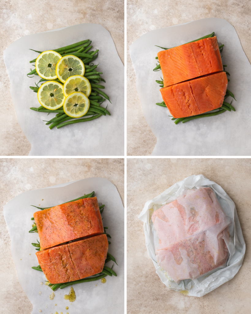 step by step instructions for salmon en papillote