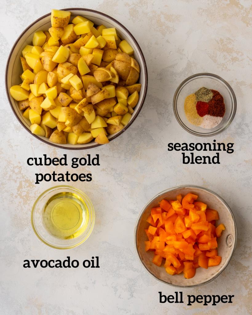 ingredients for air fryer breakfast potatoes including breakfast potato seasoning