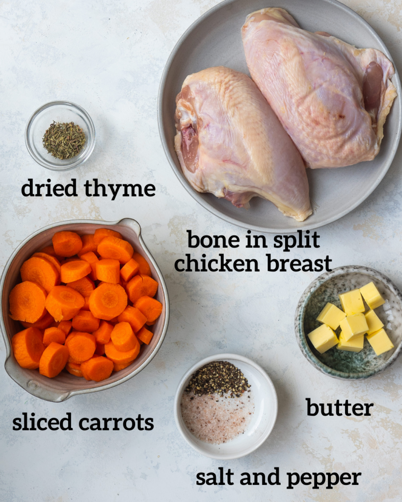 overhead view of ingredients for a baked chicken breast bone in