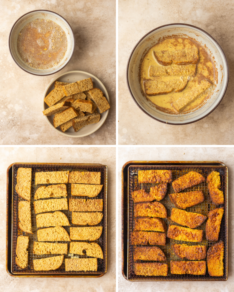 Above view of step by step assembly of air fryer French toast sticks