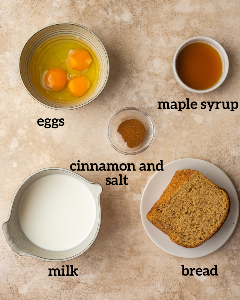 Above view of ingredients for Air Fryer French Toast