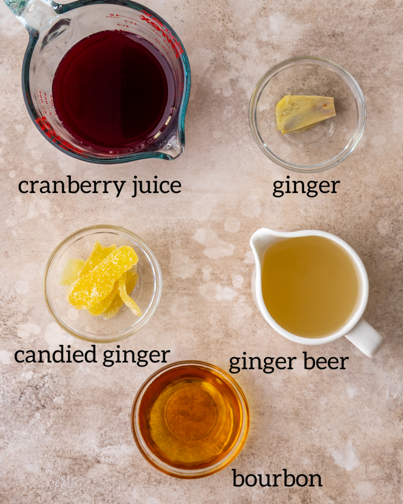 Overhead view of ingredients for a Kentucky mule recipe