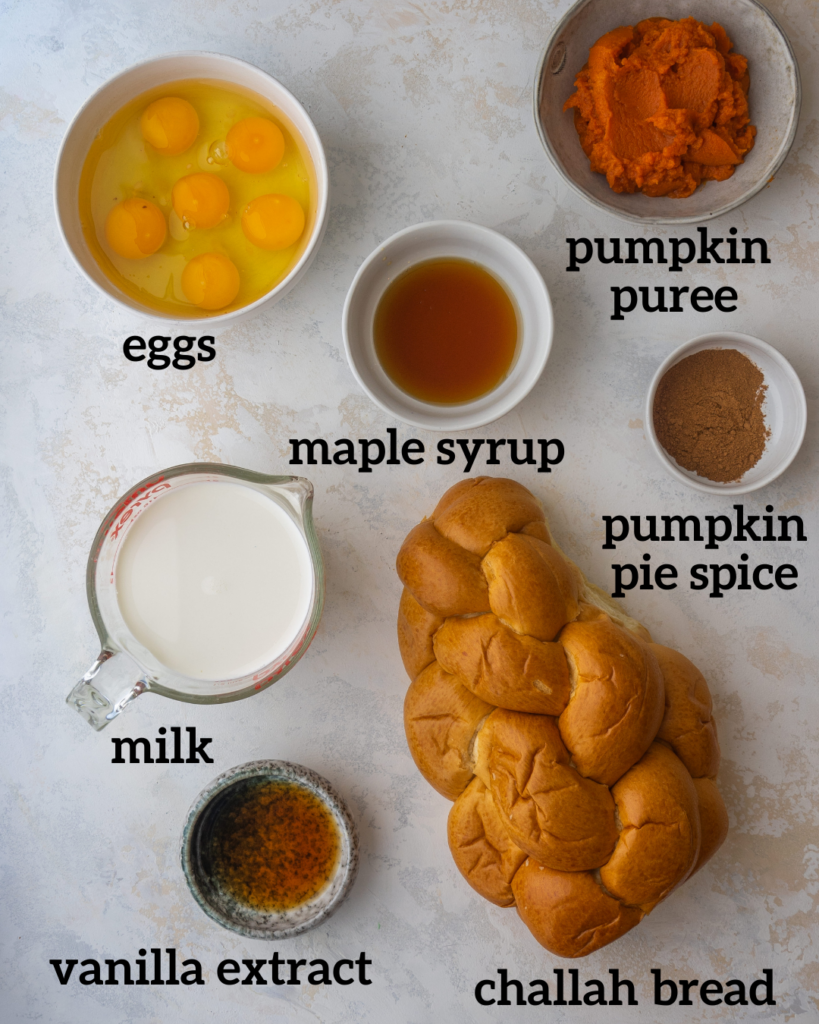 Above view of ingredients for pumpkin French toast