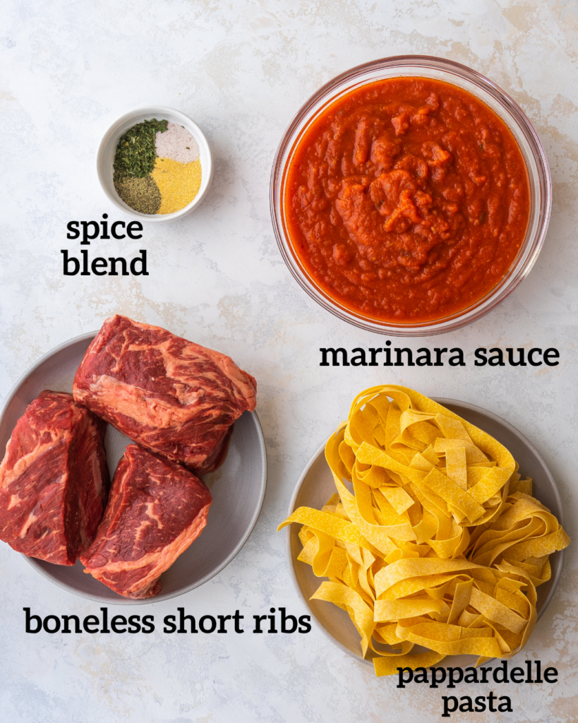 above view of ingredients for instant pot short ribs