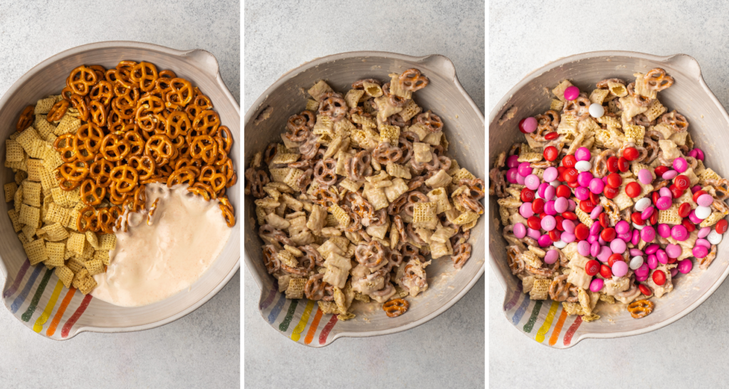 above view of mixing bowls with step by step instructions for making strawberry white chocolate chex mix