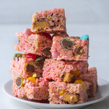 Side view of a stack of leftover Easter candy rice krispie treats