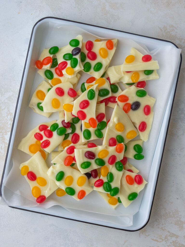 Above view of Starburst jelly bean bark on a serving tray