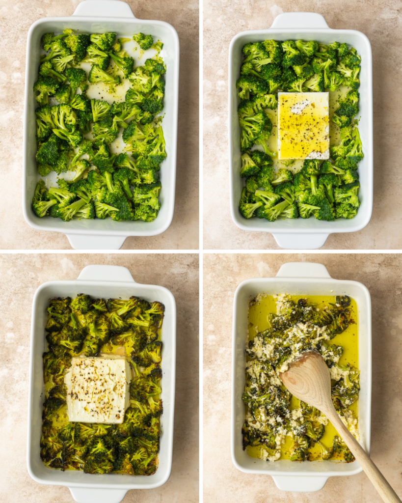 above view of step by step instructions for making baked feta pasta with broccoli