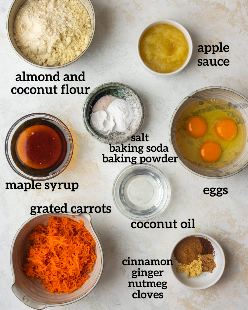 Above view of ingredients for healthy carrot cake recipe