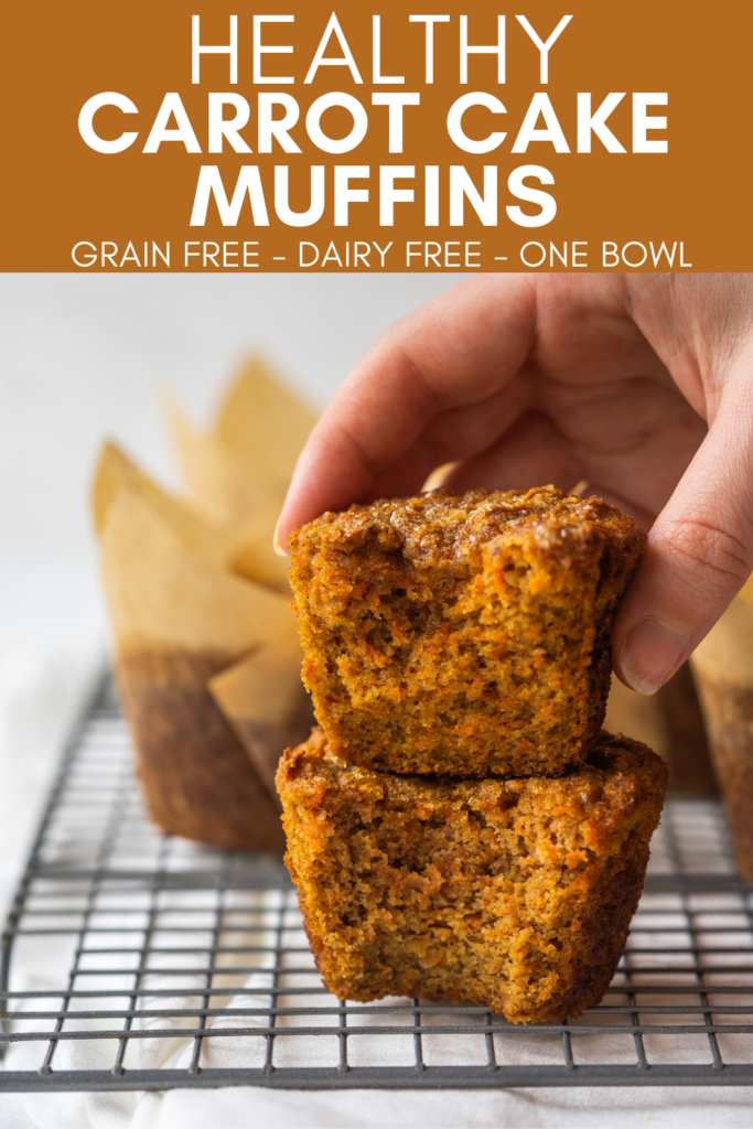 Image for pinning Healthy Carrot Cake Muffins recipe on Pinterest