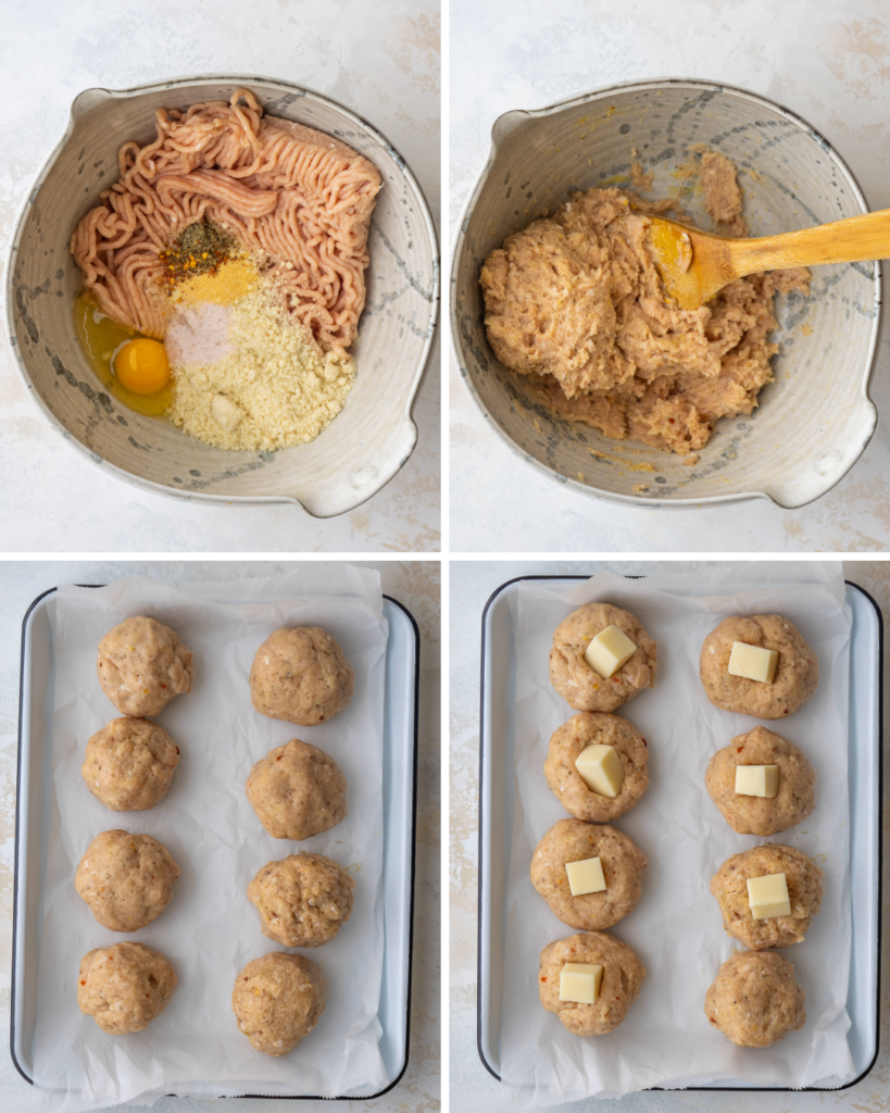 Above view of step by step assembly for mozzarella cheese stuffed meatballs
