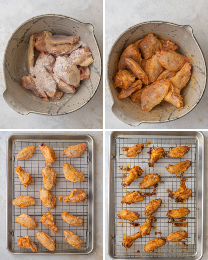 Above view of step by step assembly for baked bbq chicken wings