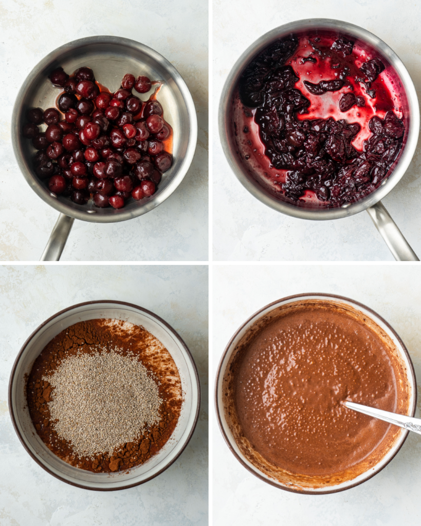 Above view of step by step instructions for making cherry compote and chocolate chia pudding