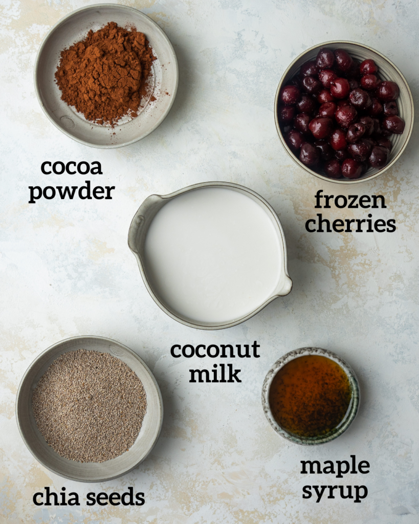 Above view of ingredients for chocolate chia pudding recipe