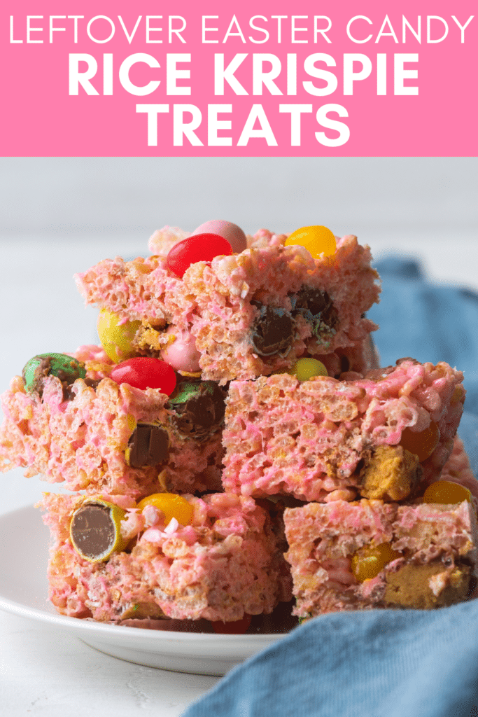 Image for pinning Leftover Easter Candy Rice Krispie Treats recipe on Pinterest