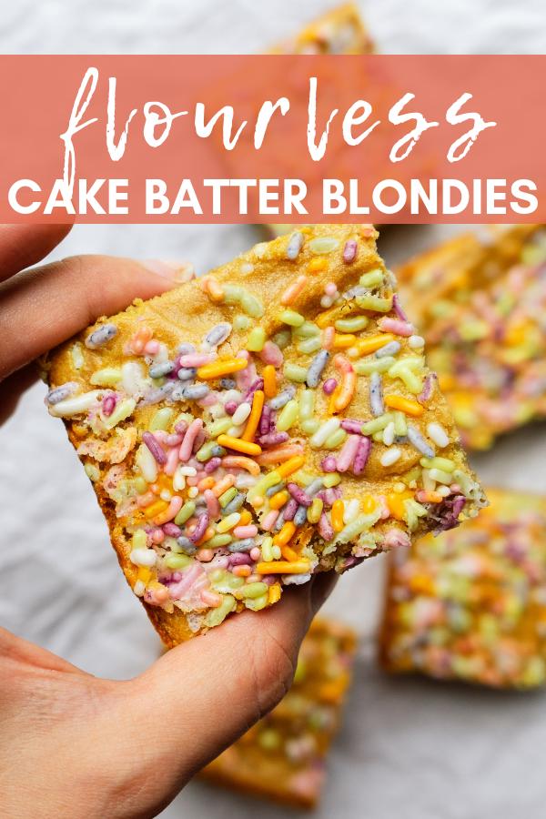 Pinterest image for pining flourless cake batter blondies