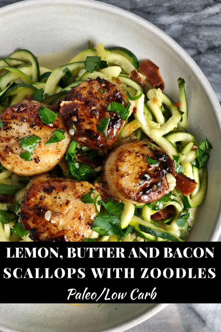 Above view of lemon butter bacon scallops on a plate with zoodles