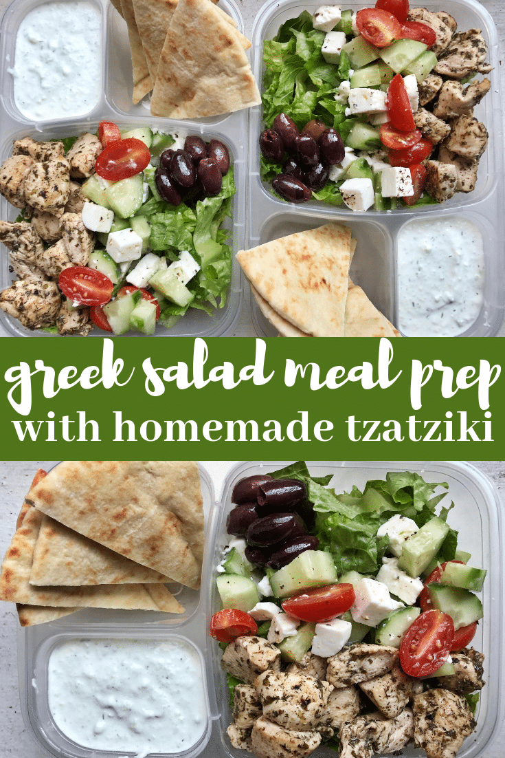 Image for pining greek salad meal prep with homemade tzatziki recipe on pinterest
