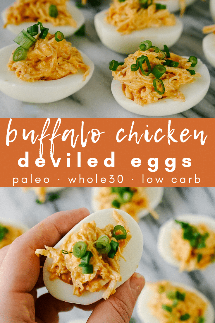 Image for pining this buffalo chicken deviled egg recipe on pinterest