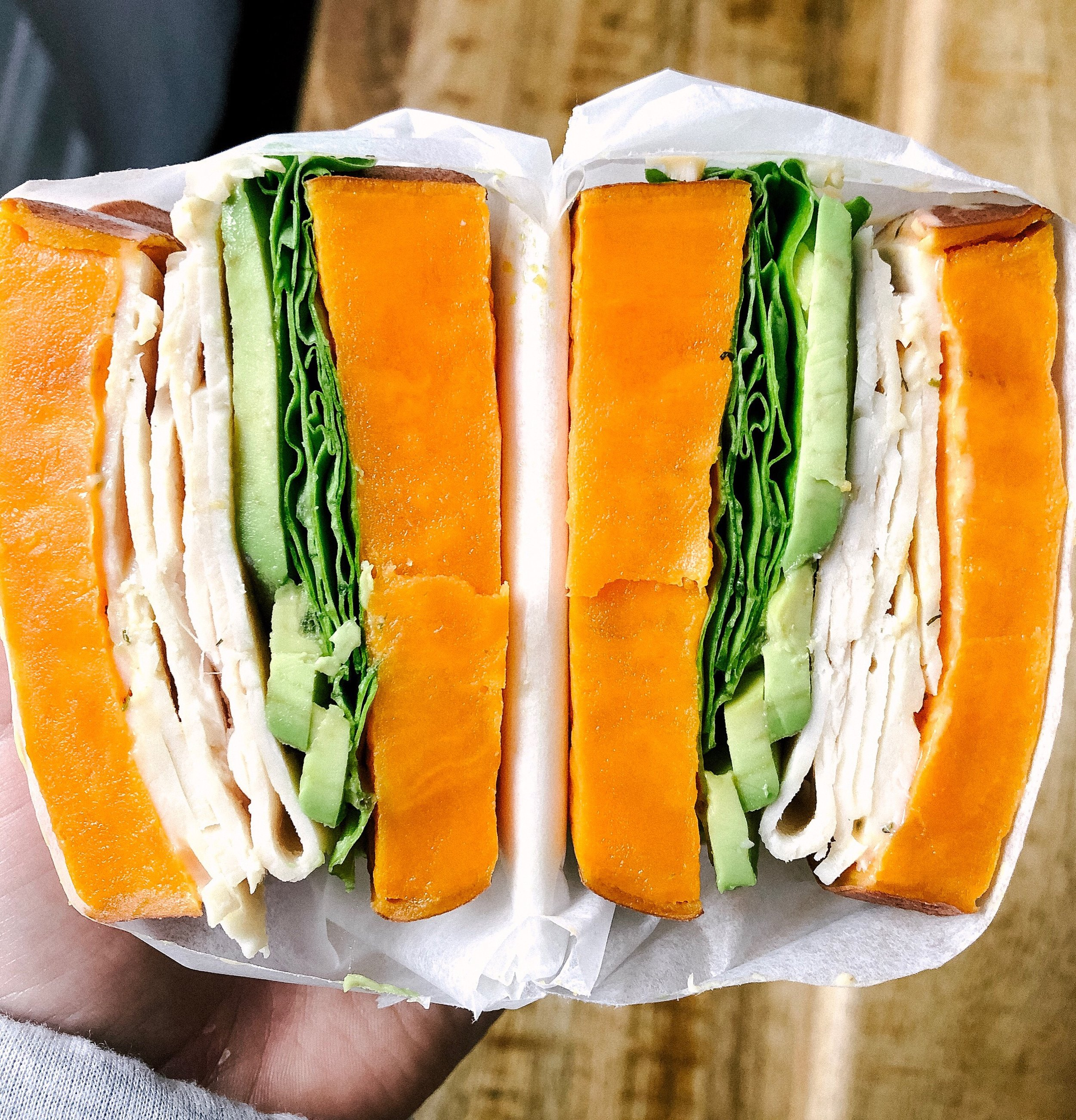 Above view of a turkey sandwich made with sweet potato buns cut in half