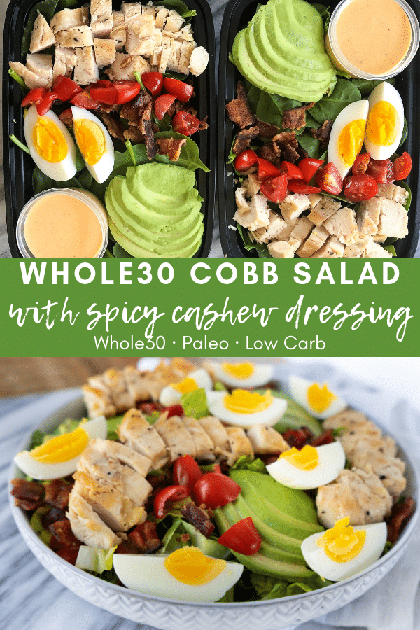 Image for pining Whole30 Cobb Salad with Spicy Cashew Dressing on Pinterest