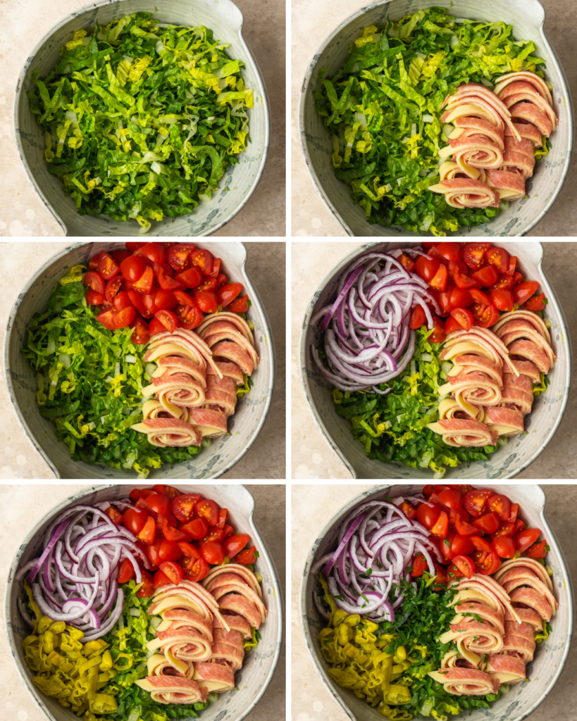 Above view of step by step assembly of an Italian chopped salad recipe