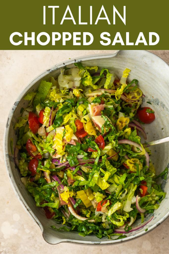 Image for pinning Italian Chopped Salad recipe on Pinterest