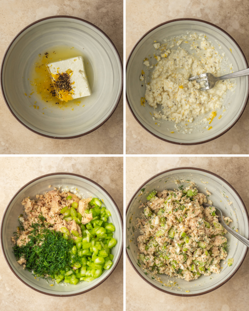 Above view of step by step assembly of a healthy tuna salad made without mayo