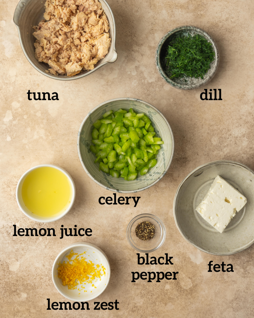 Above view of ingredients for a lemon dill tuna salad without mayo