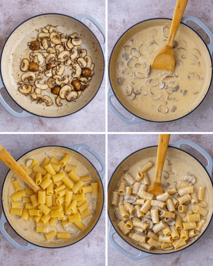 Above view of step by step assembly of homemade mushroom alfredo sauce with pasta