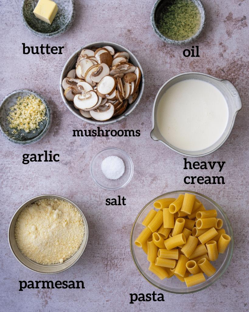 Above view of ingredients for mushroom alfredo pasta recipe