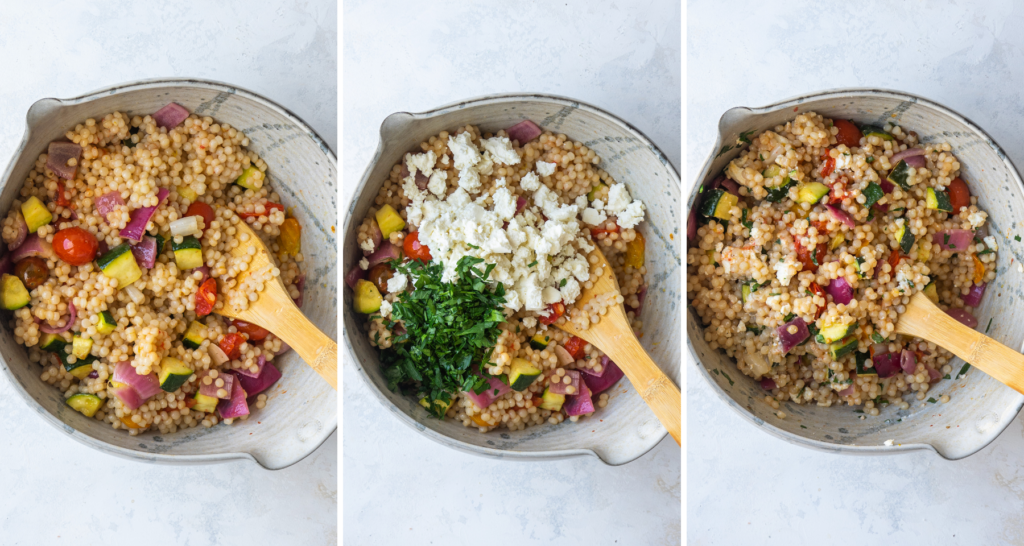 Above view of pictures of step by step assembly of pearl couscous salad