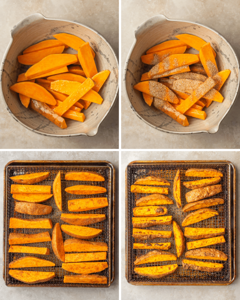 Step by step assembly  for seasoned sweet potato wedges made in the air fryer