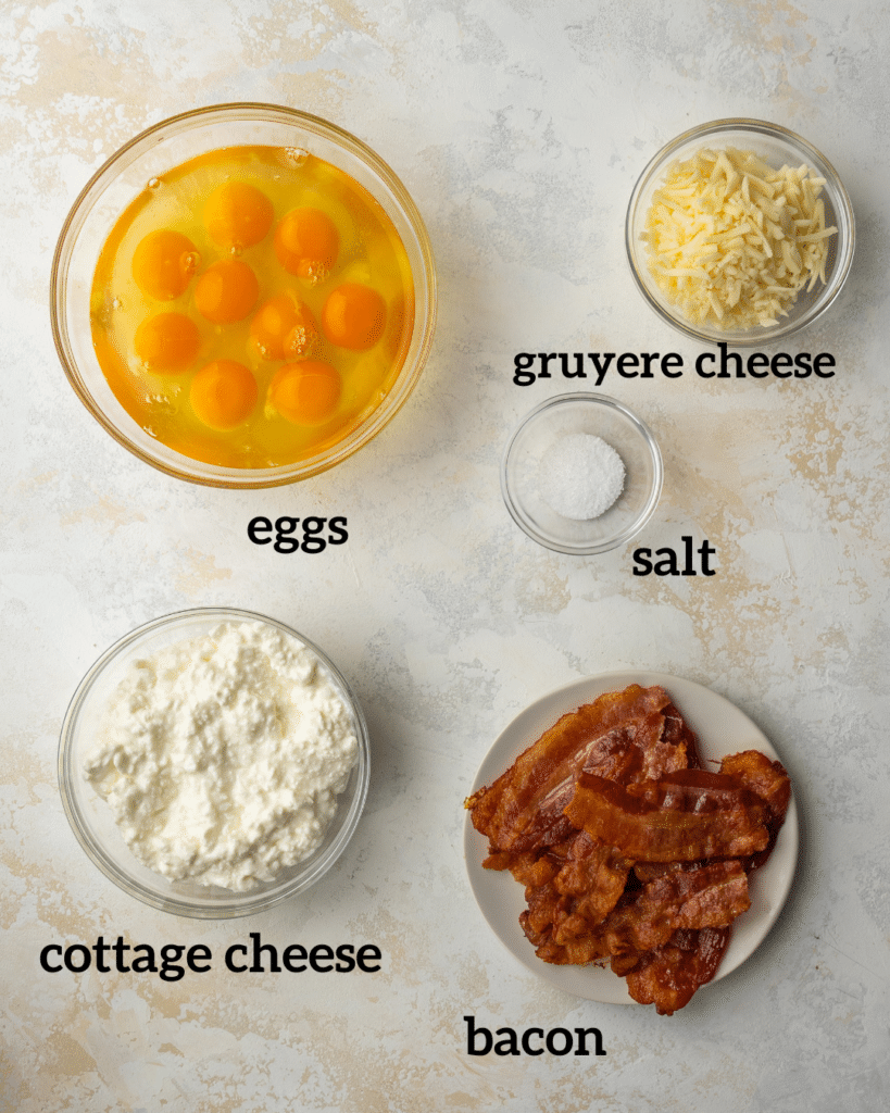Above view of ingredients for Starbucks egg bites recipe