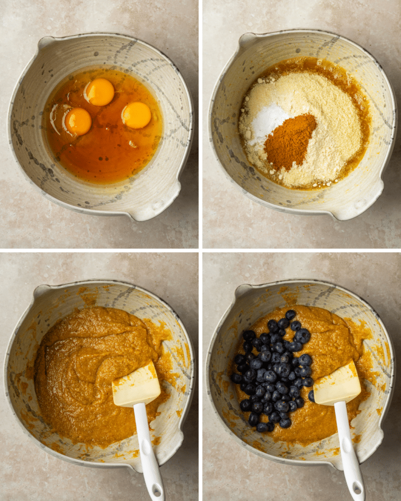 Above view of step by step assembly for blueberry coffee cake muffins