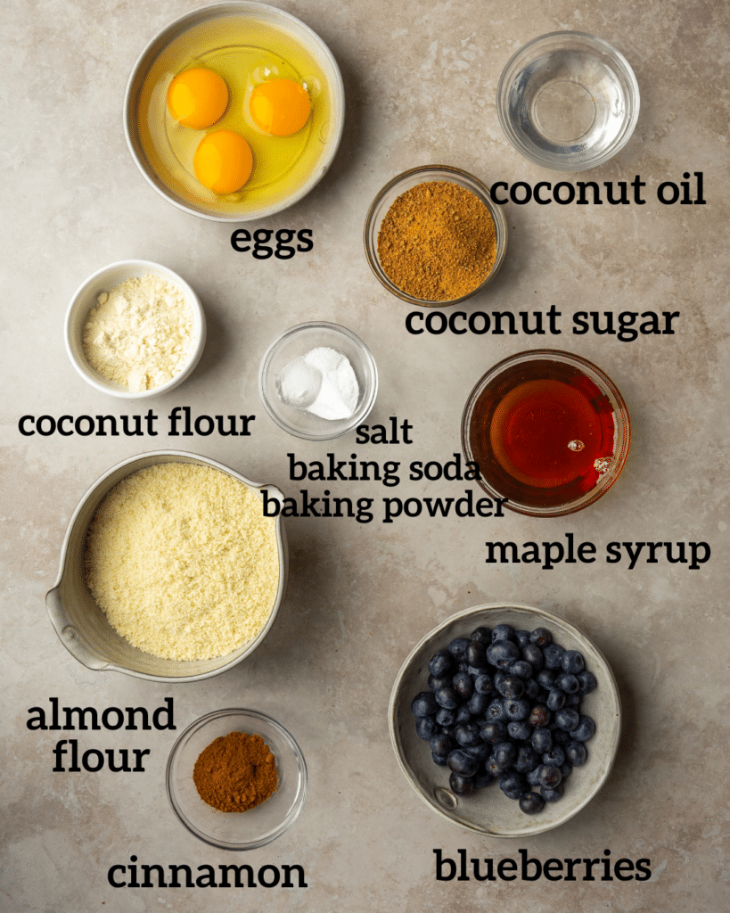 Above view of ingredients for gluten free blueberry muffins