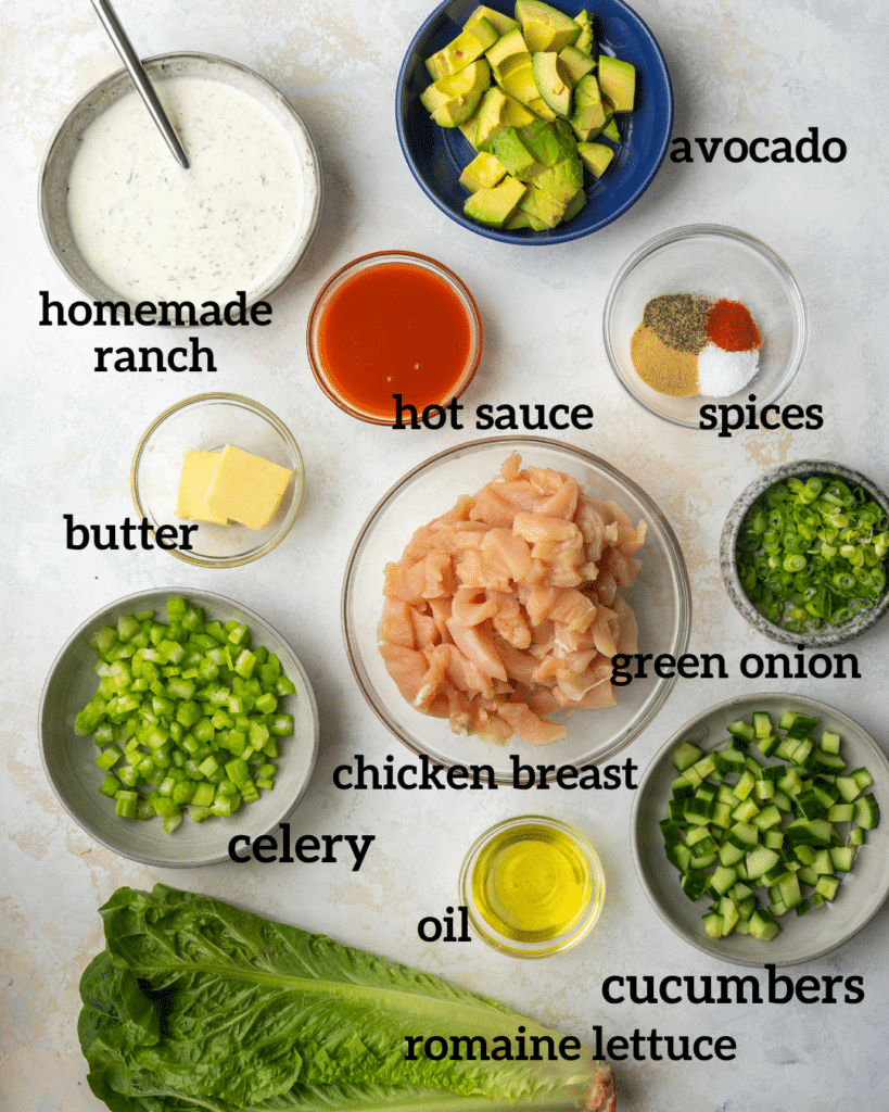 Above view of ingredients to make a buffalo chicken salad recipe