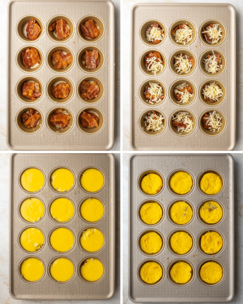 Above view of step by step assembly of over baked egg bites